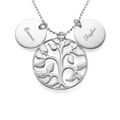 Engraved Disc Cut Out Family Tree Necklace - Crafted By Birthstone Design™