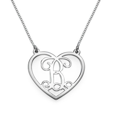 Silver Heart Initials Necklace - Crafted By Birthstone Design™