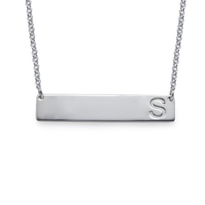 Silver Horizontal Initial Bar Necklace - Crafted By Birthstone Design™