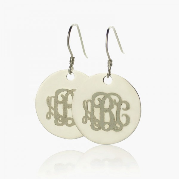 Disc Signet Monogrammed Earrings Sterling Silver - Crafted By Birthstone Design™