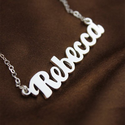 Personalised Sterling Silver Puff Font Namplate Necklace - Crafted By Birthstone Design™