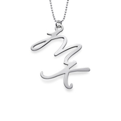 Two Initial Necklace in Sterling Silver - Crafted By Birthstone Design™