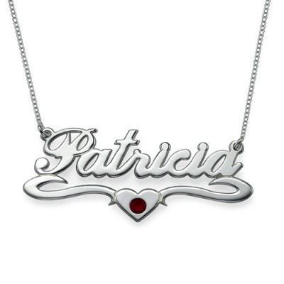 Silver and Swarovski Middle Heart Name Necklace - Crafted By Birthstone Design™