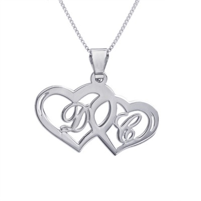 Silver Couples Hearts Pendant - Crafted By Birthstone Design™
