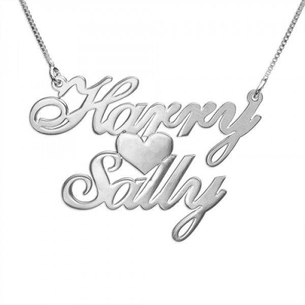 Silver Two Names  Heart Love Necklace - Crafted By Birthstone Design™