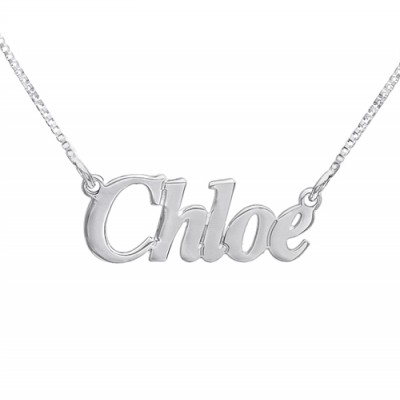 Small Angel Style Silver Name Necklace - Crafted By Birthstone Design™