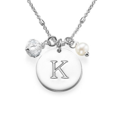 Sterling Silver Charm Initial Pendant - Crafted By Birthstone Design™