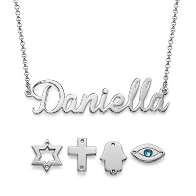 Sterling Silver Charm Name Necklace - Crafted By Birthstone Design™