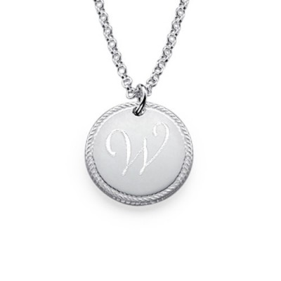 Sterling Silver Circle Initial Necklace - Crafted By Birthstone Design™