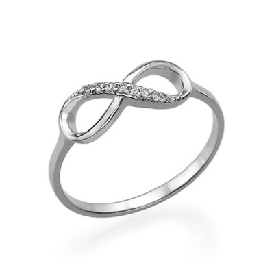 Sterling Silver Cubic Zirconia Infinity Ring - Crafted By Birthstone Design™