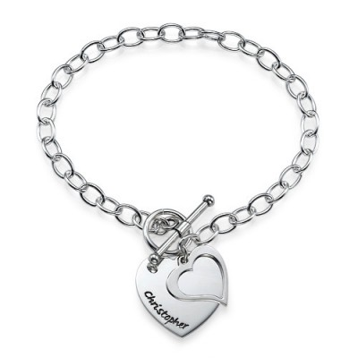 Sterling Silver Double Heart Charm Bracelet/Anklet - Crafted By Birthstone Design™