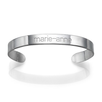 Engraved Cuff Bracelet in Silver - Crafted By Birthstone Design™