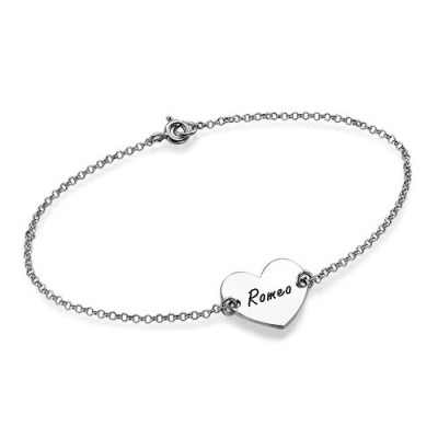 Sterling Silver Engraved Heart Couples Bracelet/Anklet - Crafted By Birthstone Design™