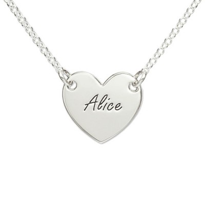 Sterling Silver Engraved Heart Necklace - Crafted By Birthstone Design™