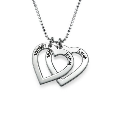 Sterling Silver Engraved Heart Necklace-One Pendant/Two Pendants/More Pendants - Crafted By Birthstone Design™