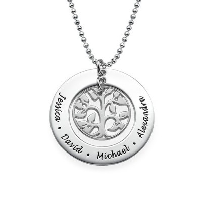 Silver Family Tree Necklace - Crafted By Birthstone Design™