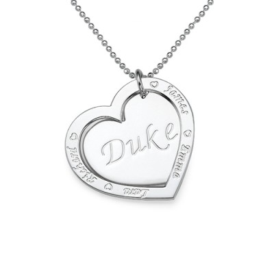 Family Heart Necklace in Silver - Crafted By Birthstone Design™