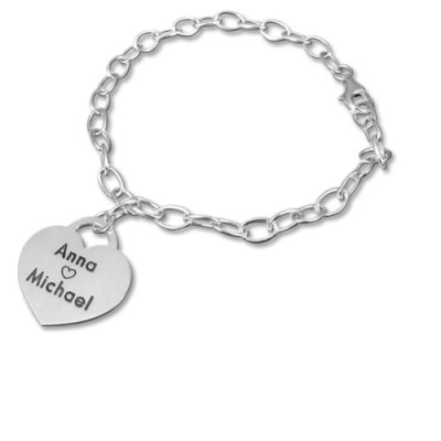 Sterling Silver Heart Charm Bracelet/Anklet - Crafted By Birthstone Design™