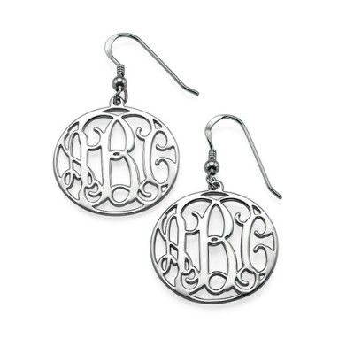 Sterling Silver Monogrammed Earrings - Crafted By Birthstone Design™