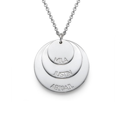 Sterling Silver Mummy Necklace with Kid's Names - Crafted By Birthstone Design™