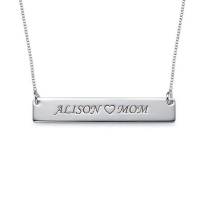 Nameplate Necklace in Sterling Silver - Crafted By Birthstone Design™