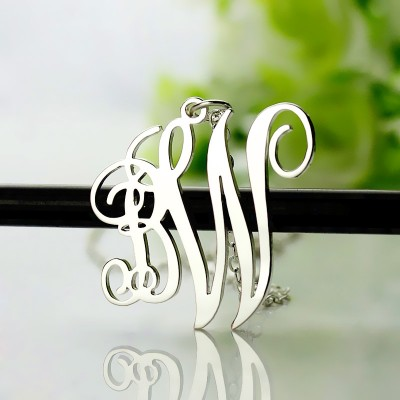 Birthstone Circle Monogram Necklace Sterling Silver  - Crafted By Birthstone Design™