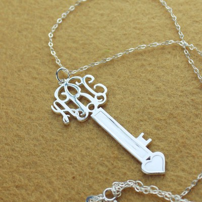 Personalised Key Necklace Sterling Silver with Monogram - Crafted By Birthstone Design™