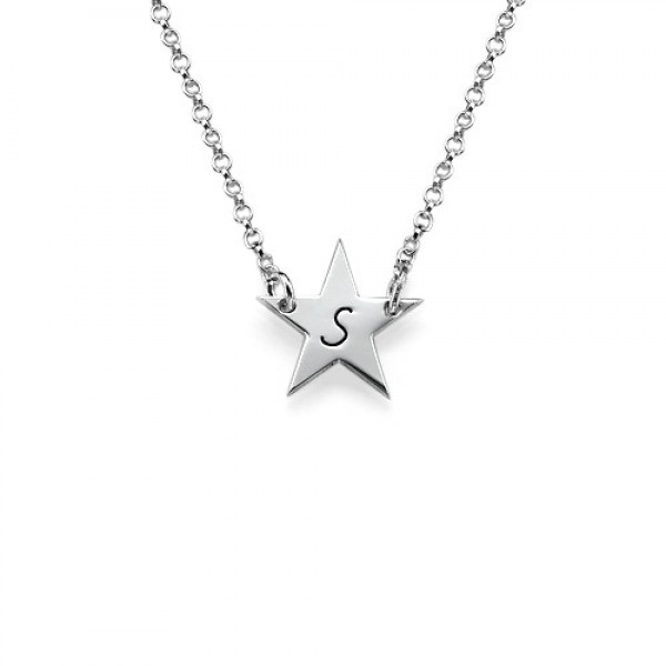 Sterling Silver Star Initial Necklace - Crafted By Birthstone Design™