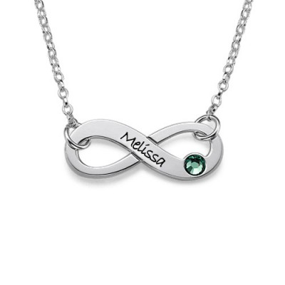 Silver Engraved Swarovski Infinity Necklace - Crafted By Birthstone Design™