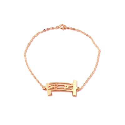 Personal Rose Gold Plated 925 Silver 3 Initials Monogram Bracelet/Anklet - Crafted By Birthstone Design™