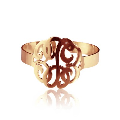 Hand Drawing Monogram Initial Bracelet 1.6 Inch 18ct Rose Gold Plated - Crafted By Birthstone Design™