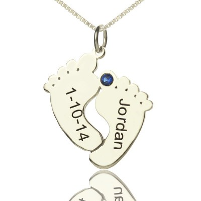 Personalised Memory Feet Necklace with Date  Name Sterling Silver - Crafted By Birthstone Design™