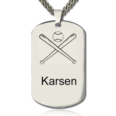 Baseball Dog Tag Name Necklace - Crafted By Birthstone Design™