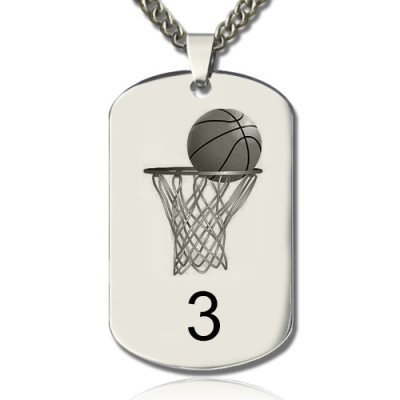 Basketball Dog Tag Name Necklace - Crafted By Birthstone Design™