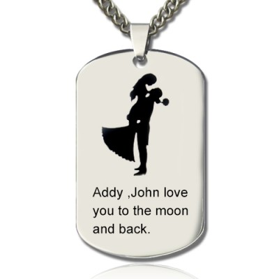 Couple Love Dog Tag Name Necklace - Crafted By Birthstone Design™