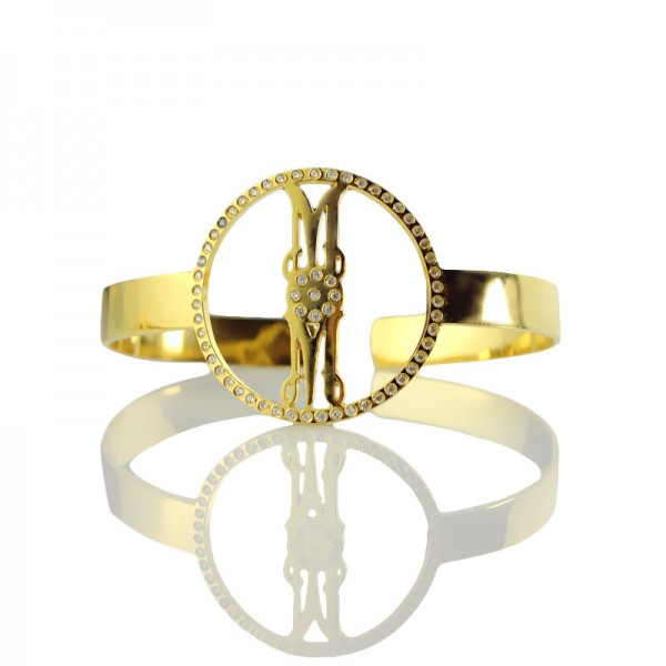 Personal Gold Plated Silver Monogram Circle Bracelet With Birthstone  - Crafted By Birthstone Design™