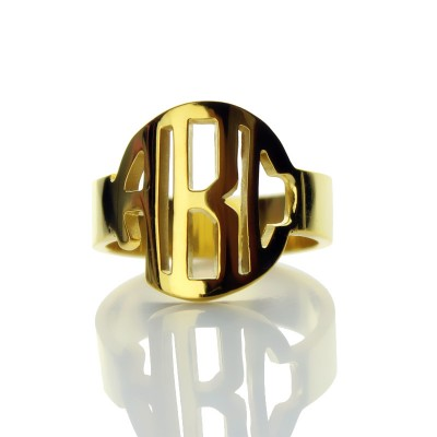 Personalised Circle Block Monogram 3 Initials Ring Solid Gold Ring - Crafted By Birthstone Design™