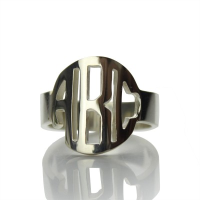 Circle Block Monogram 3 Initials Ring Solid White Gold Ring - Crafted By Birthstone Design™