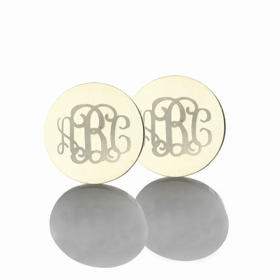 Circle Monogram 3 Initial Earrings Name Earrings Solid 18ct White Gold - Crafted By Birthstone Design™