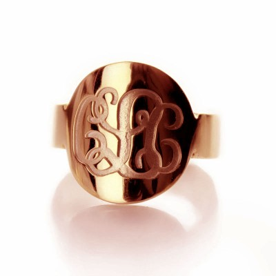Solid Rose Gold Engraved Monogram Itnitial Ring - Crafted By Birthstone Design™