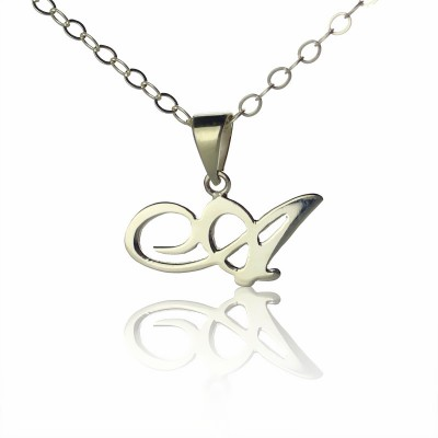 Personalised Madonna Style Initial Necklace Solid White Gold - Crafted By Birthstone Design™