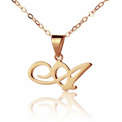 Personalised Madonna Style Initial Necklace 18ct Solid Rose Gold - Crafted By Birthstone Design™