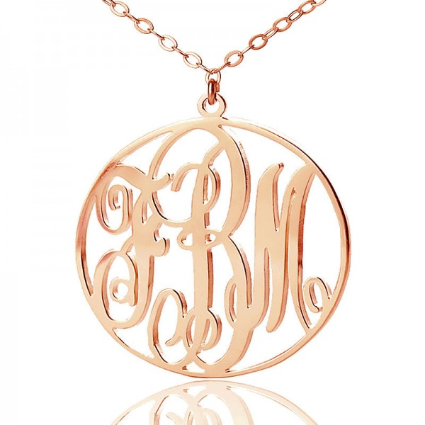 Personalised 18ct Rose Gold Plated Vine Font Circle Initial Monogram Necklace - Crafted By Birthstone Design™