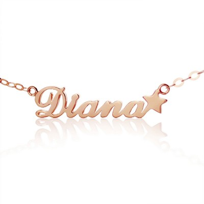 18ct Rose Gold Plated Carrie Style Name Necklace With Star - Crafted By Birthstone Design™