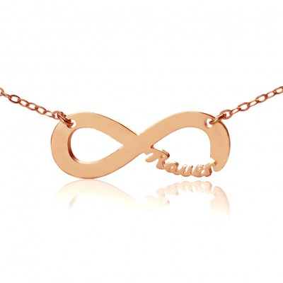 Solid Rose Gold 18ct Infinity Name Necklace - Crafted By Birthstone Design™
