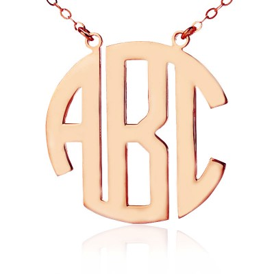 Solid Rose Gold Initial Block Monogram Pendant Necklace - Crafted By Birthstone Design™