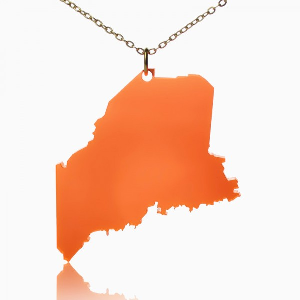 Acrylic Maine State Necklace America Map Necklace - Crafted By Birthstone Design™