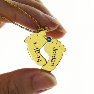 Birthstone Memory Baby Feet Charms with Date  Name 18ct Gold Plated  - Crafted By Birthstone Design™