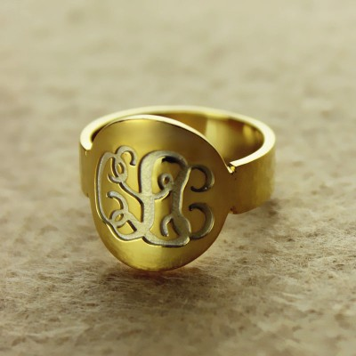 Solid Gold Engraved Monogram Itnitial Ring - Crafted By Birthstone Design™