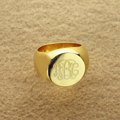 Engraved Circle Monogram Signet Ring 18ct Gold Plated - Crafted By Birthstone Design™